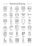 Formulera hjälpmedelsymbolssamlingen teckna som är tekniskt Linje symbolsse stock illustrationer