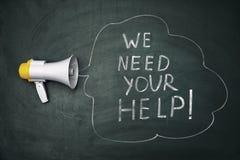 Formulera 'oss behöver din hjälp 'och högtalaren royaltyfria bilder