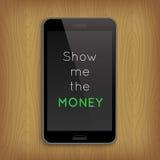 Formulera 'visar mig Momeyen' i telefon Arkivbilder