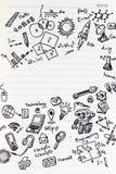 Formules de maths sur le carnet avec l'espace de copie Étude des maths de nouveau à l'école Photos stock
