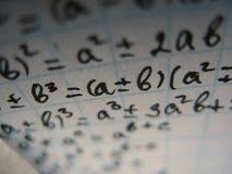 Formules mathématiques Photographie stock libre de droits