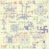 Formules physiques, graphiques et calculs scientifiques De nouveau à l'école : croquis de style de vintage de griffonnage d'objet Photo libre de droits