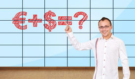 Formulf on plasma wall. Happy man pointing at formulf on plasma wall Royalty Free Stock Images