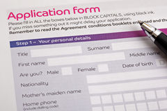 Formulário de aplicação Imagens de Stock Royalty Free