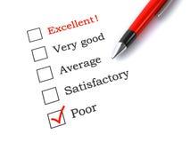 Formulário de avaliação com pena Imagem de Stock Royalty Free