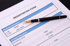 Formulário de inscrição vazio. Imagens de Stock