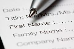 Formulário de registo Imagens de Stock