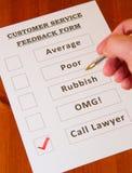 Formulário do feedback do serviço ao cliente do divertimento Foto de Stock