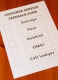 Formulário do feedback do serviço ao cliente do divertimento Fotografia de Stock