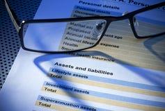 Formulário do seguro de responsabilidades dos recursos Imagens de Stock Royalty Free