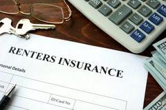 Formulário do seguro dos Renters Fotografia de Stock Royalty Free