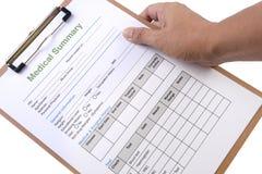 Formulário sumário médico Imagens de Stock