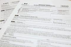 Formulários W-8BEN e W9 Imagens de Stock