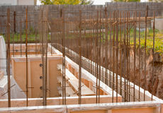 Formwork for the concrete foundation, building site. Horizontal, outdoors Royalty Free Stock Photo