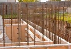 Formwork dla betonowej podstawy, plac budowy Zdjęcie Royalty Free