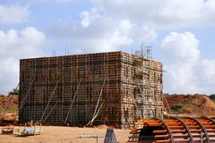 Formwork for a reinforced concrete bridge Royalty Free Stock Image