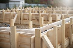 Formwork to fill the foundation royalty free stock photography