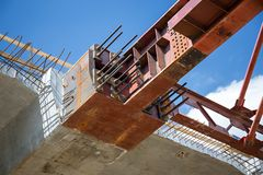 Formworks. Close up of the superstructure's bulkhead Royalty Free Stock Photography