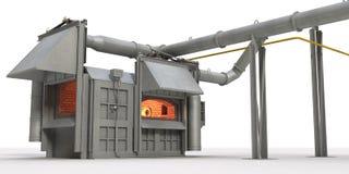 Fornace della fusione dei metalli su priorità bassa bianca Immagini Stock