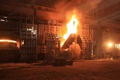 Fornace di fabbricazione dell'acciaio Fotografia Stock