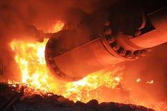 Fornace di fabbricazione dell'acciaio Immagine Stock