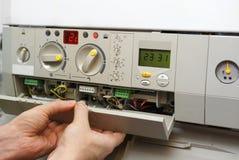 Fornace di gas della riparazione immagini stock