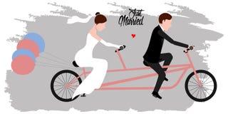 Fornal i panna młoda na bicyklu tylko para za mąż ilustracja wektor