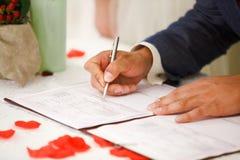 Fornal podpisuje małżeństwa świadectwo Zdjęcie Royalty Free