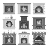Fornalha brilhante de carvão da decoração da chama morna lisa do Natal da sala da casa do projeto do ícone da chaminé do estilo e Fotos de Stock