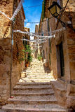 Fornalutx architecture. Photograph of Fornalutx streets, medieval village in North of Mallorca not affected by tourism, Balearic Island, Spain Stock Image