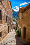 Fornalutx streets. Photograph of Fornalutx streets, medieval village in North of Mallorca not affected by tourism, Balearic Island, Spain stock image