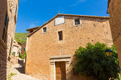Fornalutx village church in Majorca Balearic island Stock Image