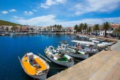 Fornells Port in Menorca marina boats Balearic islands Stock Photo