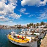 Fornells port w Menorca marina łodzi Balearic wyspach Obrazy Stock