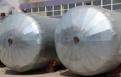Forni d'acciaio alla fabbrica russa del mattone del cemento Fotografia Stock