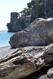 Fornillo海滩在波西塔诺,意大利 免版税库存图片