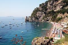 Fornillo beach. The beach of fornillo at positano on the amalfi coast in italy Stock Image