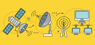 Fornitori satelliti della rete globale di Internet Immagine Stock Libera da Diritti
