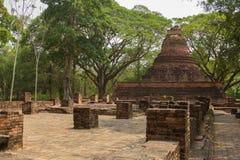 Fornlämning av den Wat Ratchaburana templet, Phichit, Thailand Royaltyfria Foton