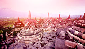 Fornminne av Borobudur den buddistiska templet på soluppgång, Yogyakarta, Java Indonesia Arkivfoto