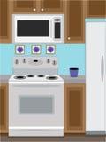 Forno domestico e microonda della cucina Immagine Stock Libera da Diritti