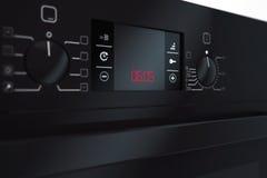 Forno elettrico nero moderno rappresentazione 3d Fotografia Stock