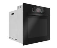 Forno elettrico nero moderno rappresentazione 3d Fotografie Stock
