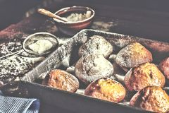 Forno fresco I bigné, muffin, panettieri mettono le mani sulle pasticcerie panettiere fotografia stock libera da diritti