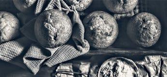 Forno fresco I bigné, muffin, panettieri mettono le mani sulle pasticcerie panettiere fotografia stock