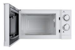 Forno micro-ondas branco novo isolado no fundo branco Fotos de Stock