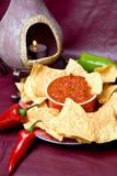 Forno, patatine fritte e salsa messicani Immagine Stock Libera da Diritti
