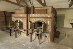 Fornos da cremação hoje Campo de concentração de Dachau imagem de stock