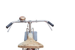 Fornt part of vintage bycicle. View from bikers eyes isolated on Stock Image