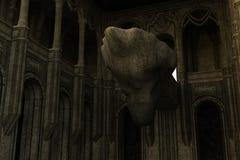 Forntida övergiven tempel i grottan med altaret Royaltyfri Fotografi
